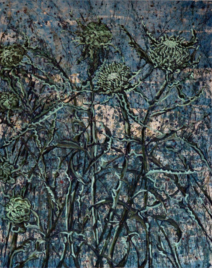 Blauwe distels in avondlicht 150 -200 cm