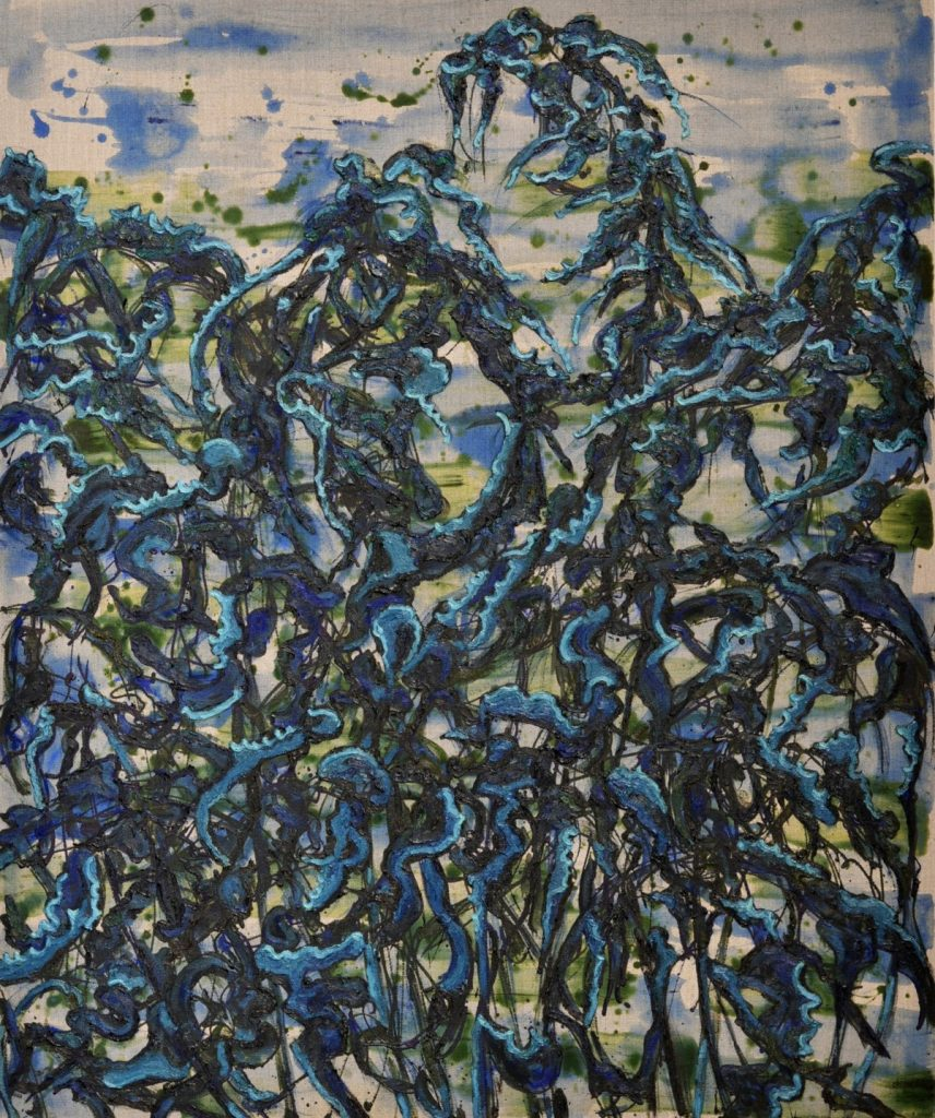 Donker blauwe distel
