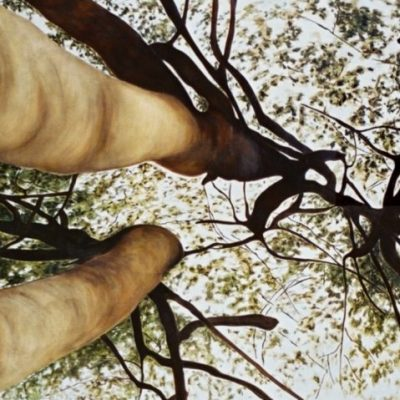 Onder de bomen, muurschildering 250-500 cm