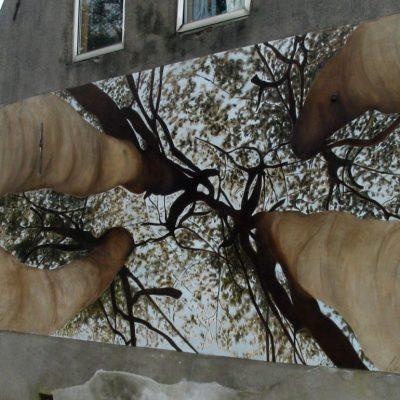 Onder de bomen. Muurschildering, 250-500 cm