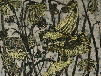 Zonnebloemen verdord in een veld, 60-80